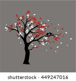 silhouette autumn tree with... | Shutterstock .eps vector #449247016
