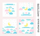 moon  clouds  stars and banner... | Shutterstock . vector #449273398