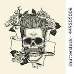 skull. hipster skull silhouette ... | Shutterstock .eps vector #449305006