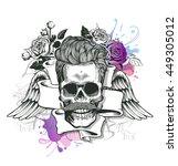 skull. hipster skull silhouette ...   Shutterstock .eps vector #449305012