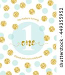 cute baby first birthday card...   Shutterstock .eps vector #449355952