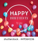 happy birthday card with flying ... | Shutterstock .eps vector #449364136