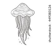 hand drawn vector jellyfish in... | Shutterstock .eps vector #449383126