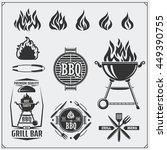 bbq and grill labels set.... | Shutterstock .eps vector #449390755