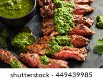homemade cooked skirt steak... | Shutterstock . vector #449439985