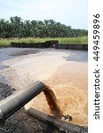 Small photo of Palm oil mill effluent wastewater being discharged