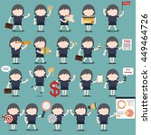 set of business woman character ... | Shutterstock .eps vector #449464726