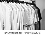 shirts hanging stacked on... | Shutterstock . vector #449486278