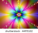 rainbow flower bright neon abstract page design illustration background - stock photo