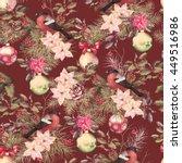 christmas retro seamless... | Shutterstock . vector #449516986