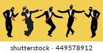 elegant men wearing hats.... | Shutterstock .eps vector #449578912