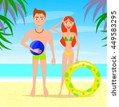 man and woman relaxing on the... | Shutterstock . vector #449583295