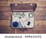 open suitcase with vintage... | Shutterstock . vector #449614192