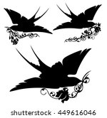 swallow with rose   black birds ... | Shutterstock .eps vector #449616046