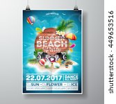 vector summer beach party flyer ... | Shutterstock .eps vector #449653516