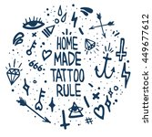 old school tattoo elements. ... | Shutterstock .eps vector #449677612