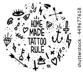 old school tattoo elements. ... | Shutterstock .eps vector #449677618
