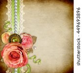 vintage background with  roses  ... | Shutterstock . vector #449693896