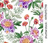 bouquet of purple peonies  red... | Shutterstock . vector #449695798
