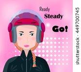 biker girl with red helmet ...   Shutterstock .eps vector #449700745