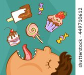 sweet addiction concept.... | Shutterstock .eps vector #449710612