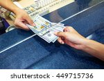 female hand with money in cash... | Shutterstock . vector #449715736