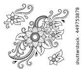 set of mehndi flower pattern... | Shutterstock .eps vector #449753878
