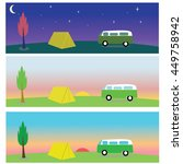 trailer and tent on a...   Shutterstock .eps vector #449758942