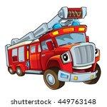 cartoon funny firetruck  ... | Shutterstock . vector #449763148