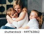 mother hug children daughters... | Shutterstock . vector #449763862