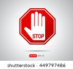 stop hand octagonal sign for... | Shutterstock .eps vector #449797486