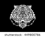 hand drawn tiger head tattoo... | Shutterstock .eps vector #449800786