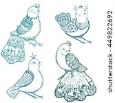 collection of doodle birds for... | Shutterstock .eps vector #449822692