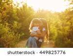two lovely little sisters big... | Shutterstock . vector #449825776