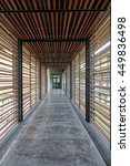 wood batten corridor in public... | Shutterstock . vector #449836498