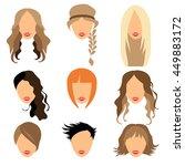 set of woman hair styling flat...   Shutterstock . vector #449883172