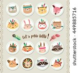 set of cartoon sticker with... | Shutterstock .eps vector #449885716