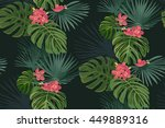 exotic tropical flowers and... | Shutterstock .eps vector #449889316