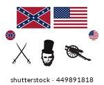 Civil War Usa Icon Set Vector....