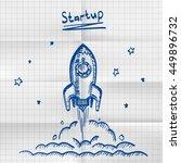 exercise book sketch rocket... | Shutterstock .eps vector #449896732