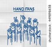 exercise book sketch fans hands ... | Shutterstock .eps vector #449898658
