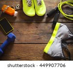 female sport equipment on a...   Shutterstock . vector #449907706