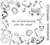 vector set of school supplies... | Shutterstock .eps vector #449910112