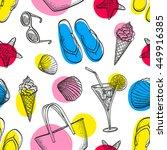summer seamless pattern. hand... | Shutterstock .eps vector #449916385