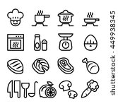 cooking icon set  in thin line... | Shutterstock .eps vector #449938345