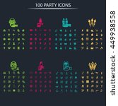 set of one hundred party icons   Shutterstock .eps vector #449938558