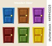 cartoon wooden colorful door ... | Shutterstock .eps vector #449943325