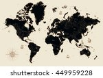 decorative old map of the world | Shutterstock .eps vector #449959228