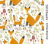 adorable seamless pattern with... | Shutterstock .eps vector #449963182