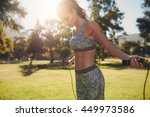 outdoor shot of woman in... | Shutterstock . vector #449973586